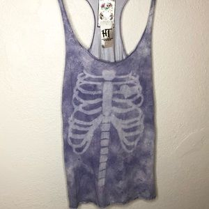 NWT A Fine Mess skeleton heart tank top
